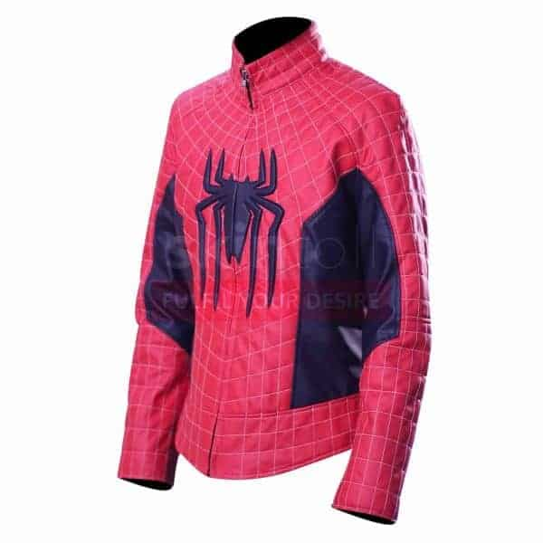 The Amazing Spiderman Peter Parker Mens Red Cosplay Leather Jacket