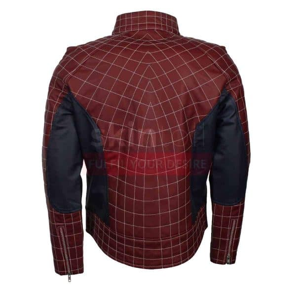 The Amazing Spiderman 2 Peter Parker Mens Maroon Cosplay Leather Jacket
