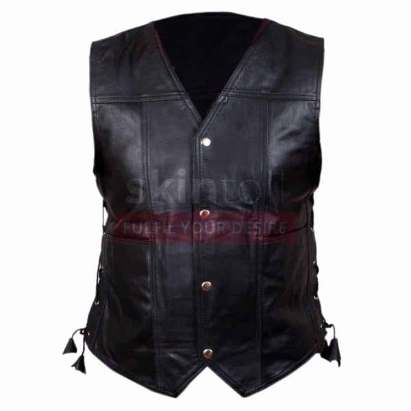mens black leather biker vest