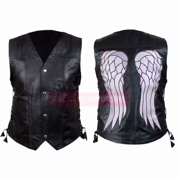The Walking Dead Governor Daryl Dixon Angel Wings Black Leather Vest