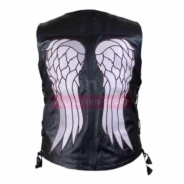 The Walking Dead Governor Daryl Dixon Angel Wings Black Leather Biker Vest