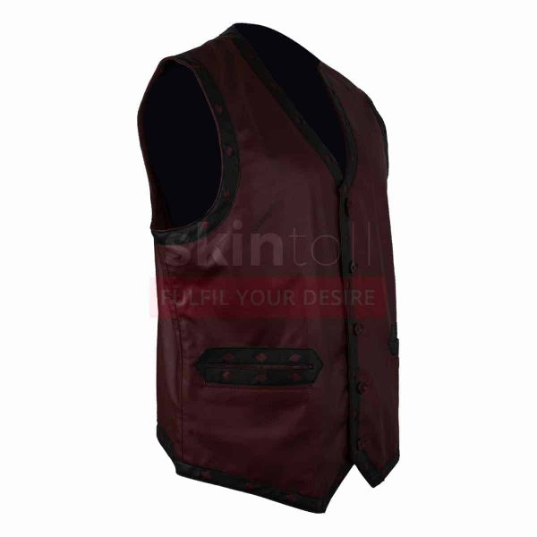 The Warriors Movie Maroon Motorcycle Leather Vest