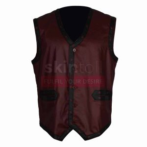 Warriors Movie Maroon Leather Vest Motorcycle