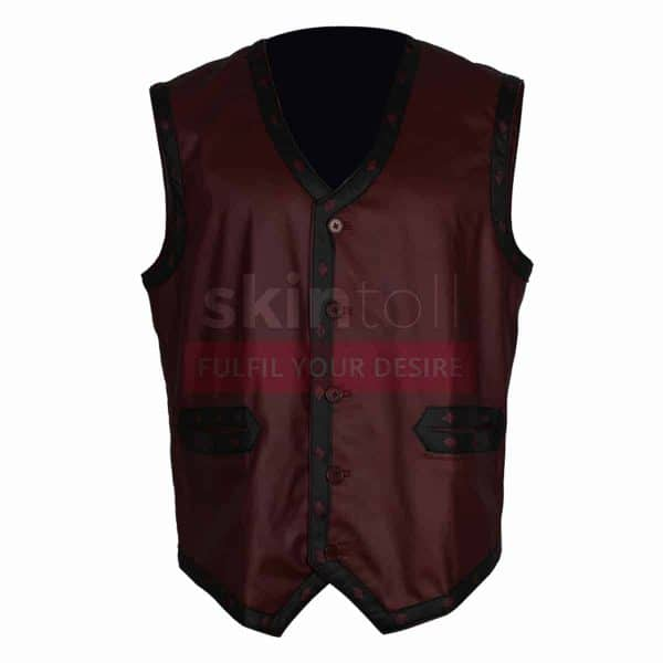 The Warriors Movie Maroon Motorcycle Rider Leather Vest