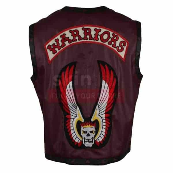 The Warriors Movie Maroon Motorcycle real Leather Vest