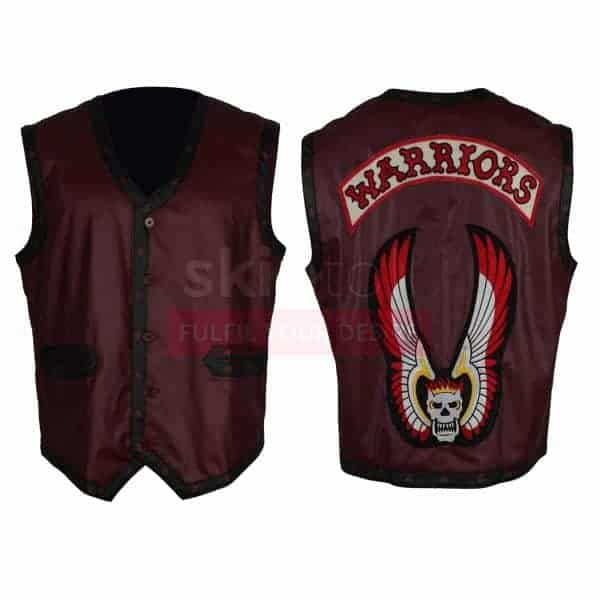 The Warriors Movie Maroon With diamond Bordered Motorcycle Real Leather Vest