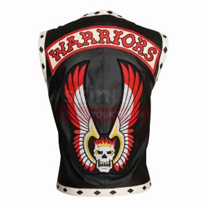 The Warriors Movie White Diamond Black Motorcycle Leather Vest Jacket