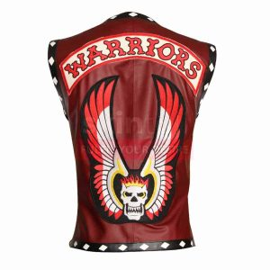 The Warriors Movie White Diamond Maroon Motorcycle Leather Vest Jacket