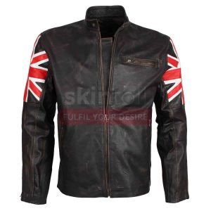 UK Flag Brown Motorcycle Leather Jacket