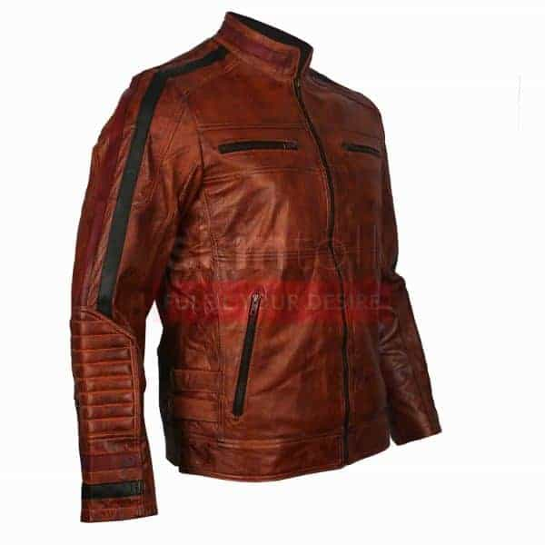 Vintage Motorbiker Brown Waxed Cafe Racer Leather Jacket