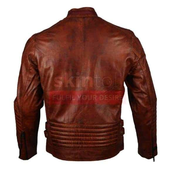 Vintage Motorbiker Brown Waxed Cafe Racer Rider Leather Jacket