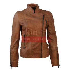 lambskin brown leather motorcycle jacket womens