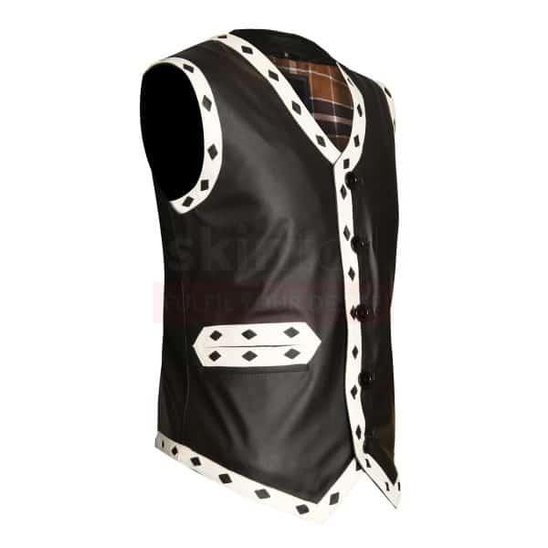 White Diamond Black Motorcycle Leather Vest Jacket