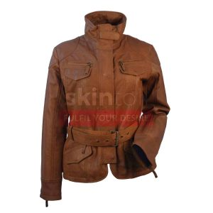 Women Classic Belted Brown Lambskin Leather jacket