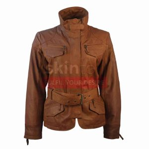 Classic Belted Womens Brown Lambskin Leather jacket