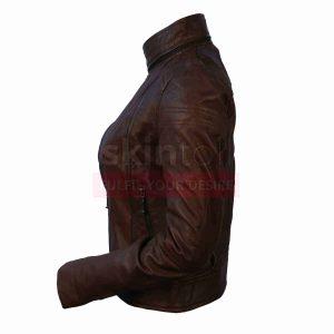 Women Choco-Brown SlimFit Motorcylce Leather Jacket