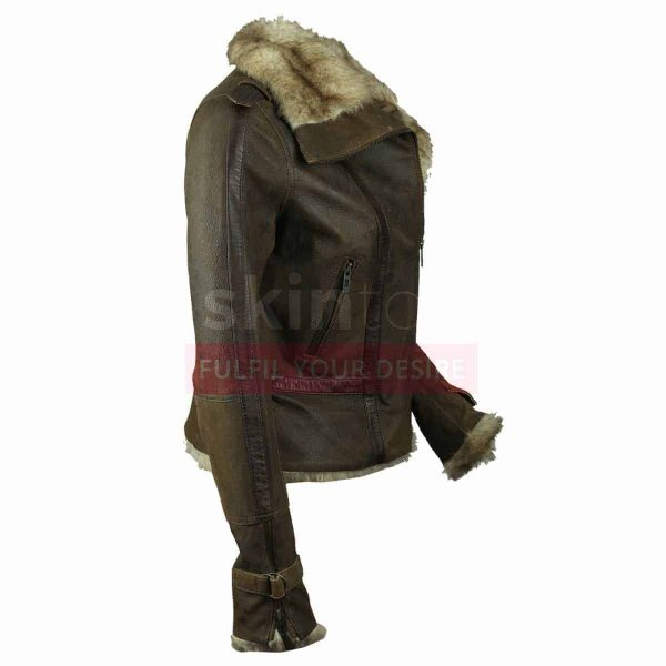Women Hot Vintage Fur Collar Winter Warm Brown Leather Jacket