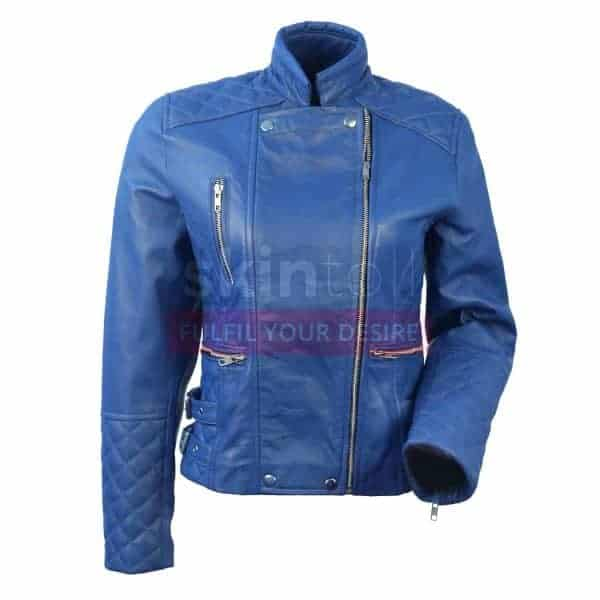 women-motorcycle-blue-leather-jacket