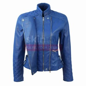 Women Motorcycle SlimFit blue soft leather jacket