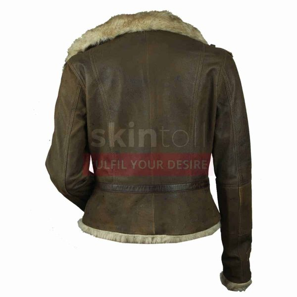 Women Vintage Fur Collar Warm Hot Brown Leather Jacket