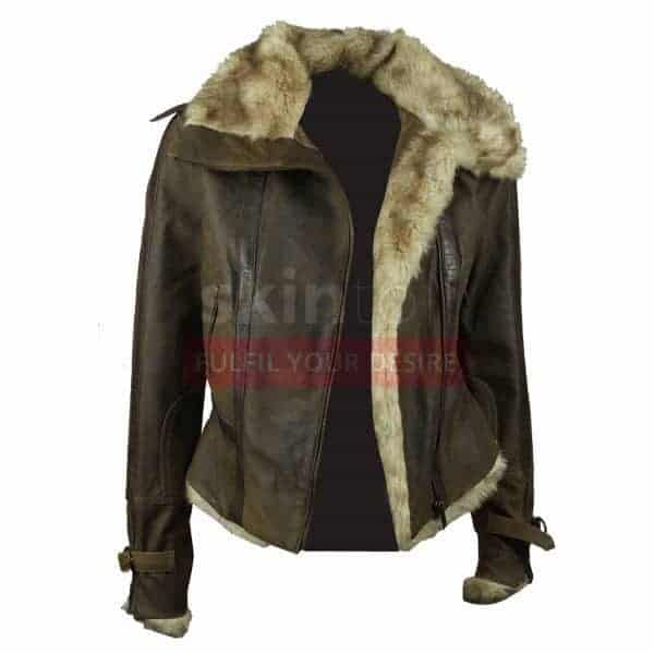 Women Vintage Fur Collar Winter Brown Leather Jacket