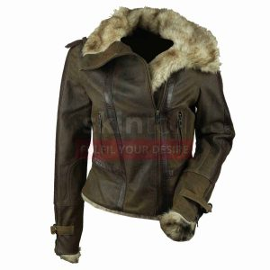 Hot Women Vintage Fur Collar Winter Warm Brown Leather Jacket
