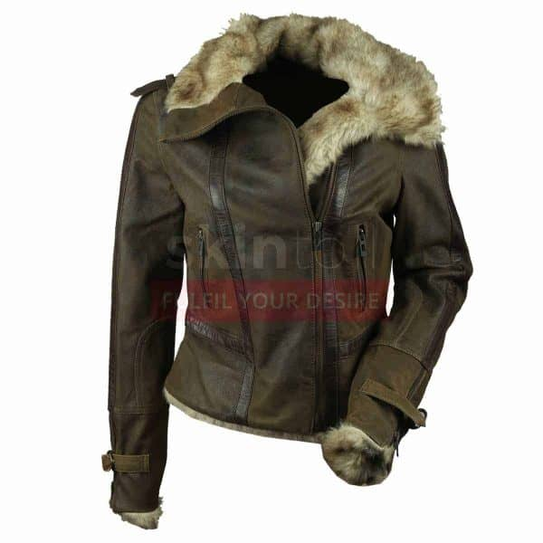 Women Vintage Fur Collar Winter Warm Brown Leather Jacket