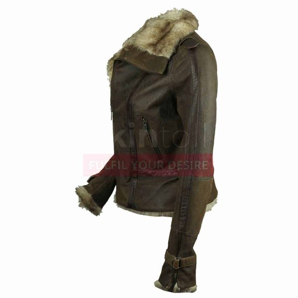 Women Vintage Fur Collar Winter Warm Hot Brown Leather Jacket