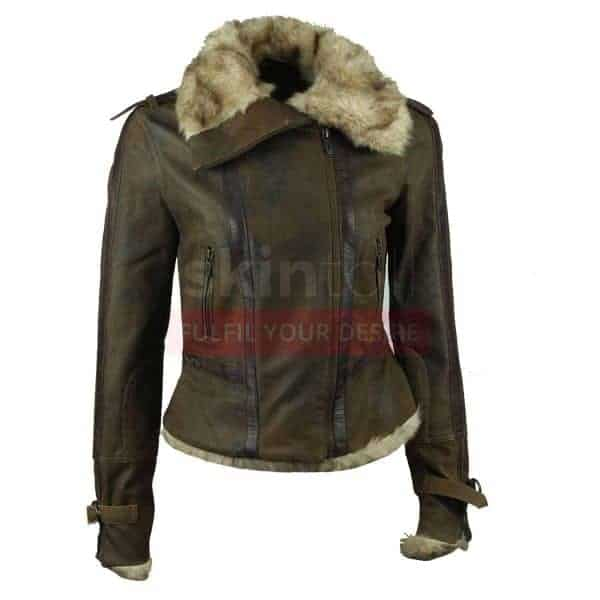 Women Vintage Real Fur Collar Warm Brown Leather Jacket