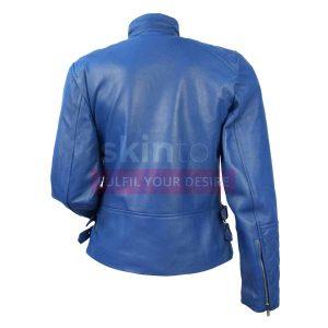 Women Motorcycle SlimFit blue soft leather jacket