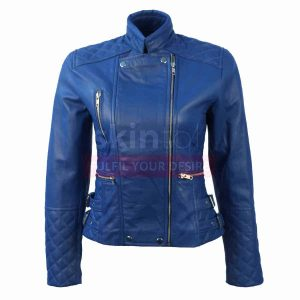 women blue slim fit leather jacket