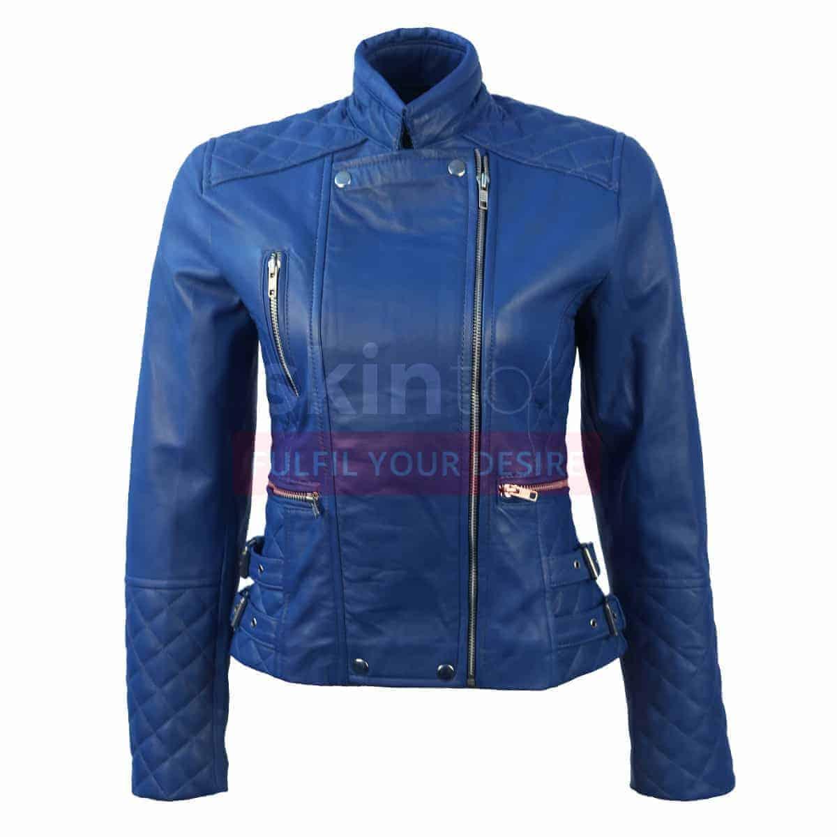 Women Blue Slim Fit Leather Jacket For Sale Skintoll