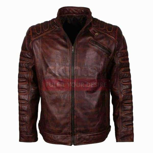 vintage Classic Fashion Motorcycle Cafe Racer Leather Jacket