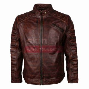 Mens Vintage Cafe Racer Jacket in brown leather