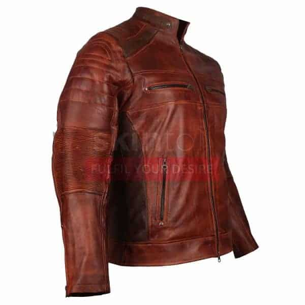 Cafe Racer Biker Casual Brown Waxed classic Leather Jacket