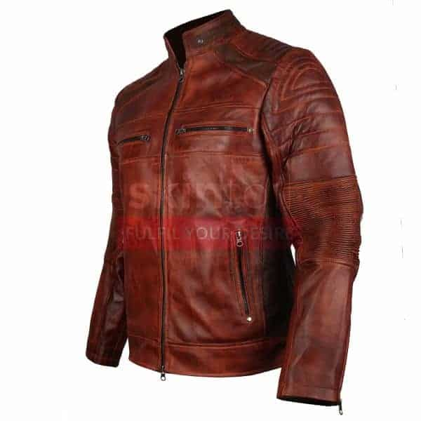Vintage Cafe Racer Biker Brown Waxed classic Leather Jacket