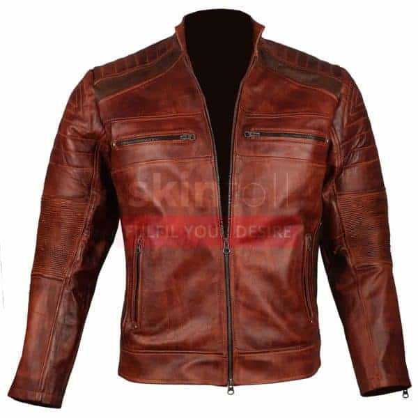 Vintage Cafe Racer Biker Casual Brown Waxed classic Leather Jacket