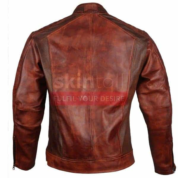 Vintage Cafe Racer Motorbiker Brown Waxed classic Leather Jacket