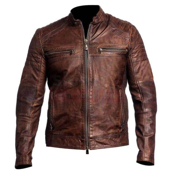 Vintage cafe racer brown leather jacket