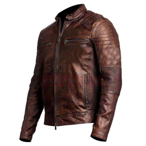 Vintage cafe racer brown waxed leather jacket