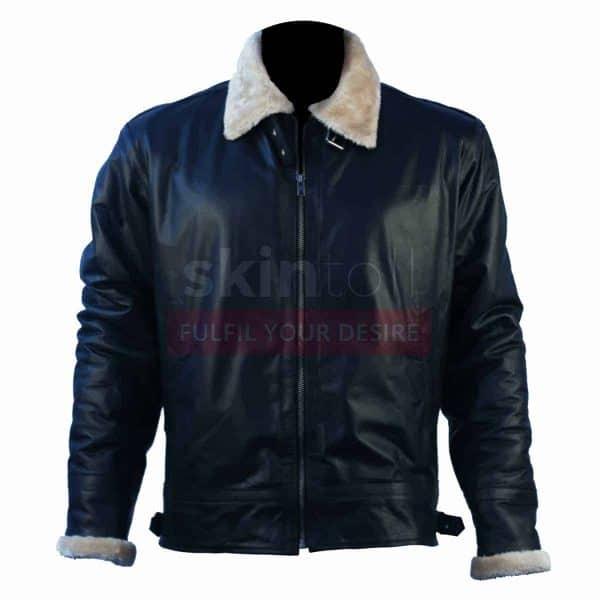 Mens New Fashion Winter Classic Fur Black Leather Jacket