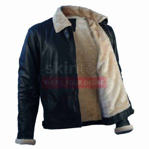 Mens New Fashion Winter Classic Fur Black Leather Jacket