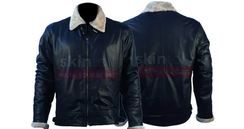 Mens New Fashion Winter Classic Fur Black Leather Jackets