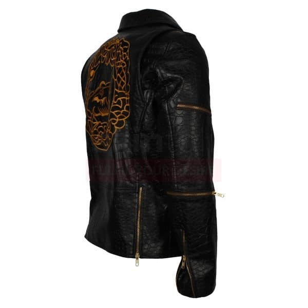 Killer Croc Costume Black Biker Leather Jacket
