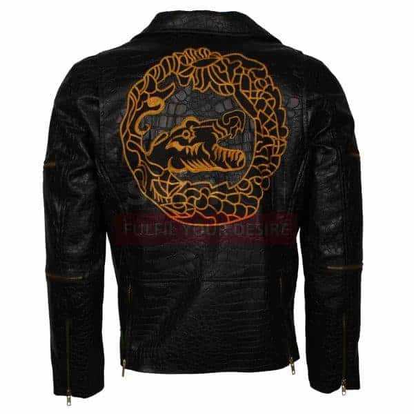 Suicide Squad Jones Dragon Killer Croc Black Biker Leather Jacket