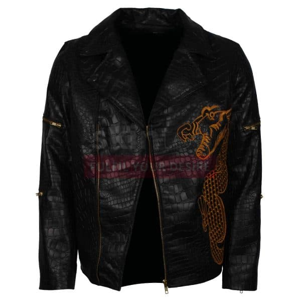 Suicide Squad The Killer Croc Dragon Mens Black Leather Jacket