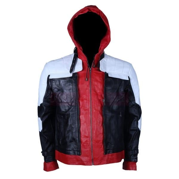 Batman red hooded leather jacket