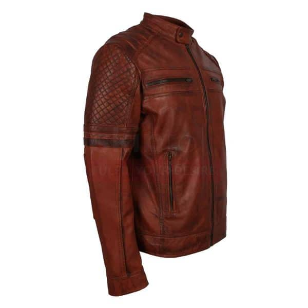 Brown waxed carved leather jacket