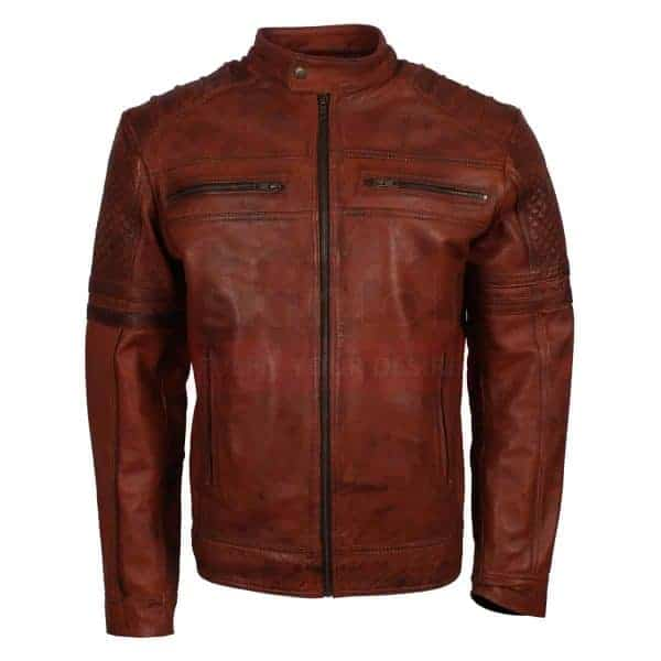 Vintage Brown waxed Carved leather jacket