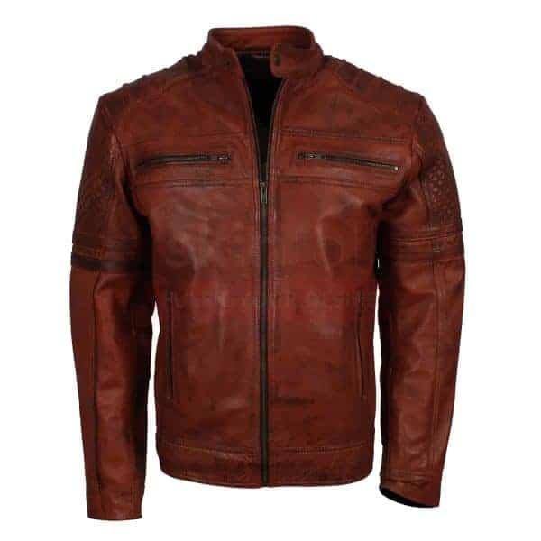 Vintage Brown waxed leather jacket